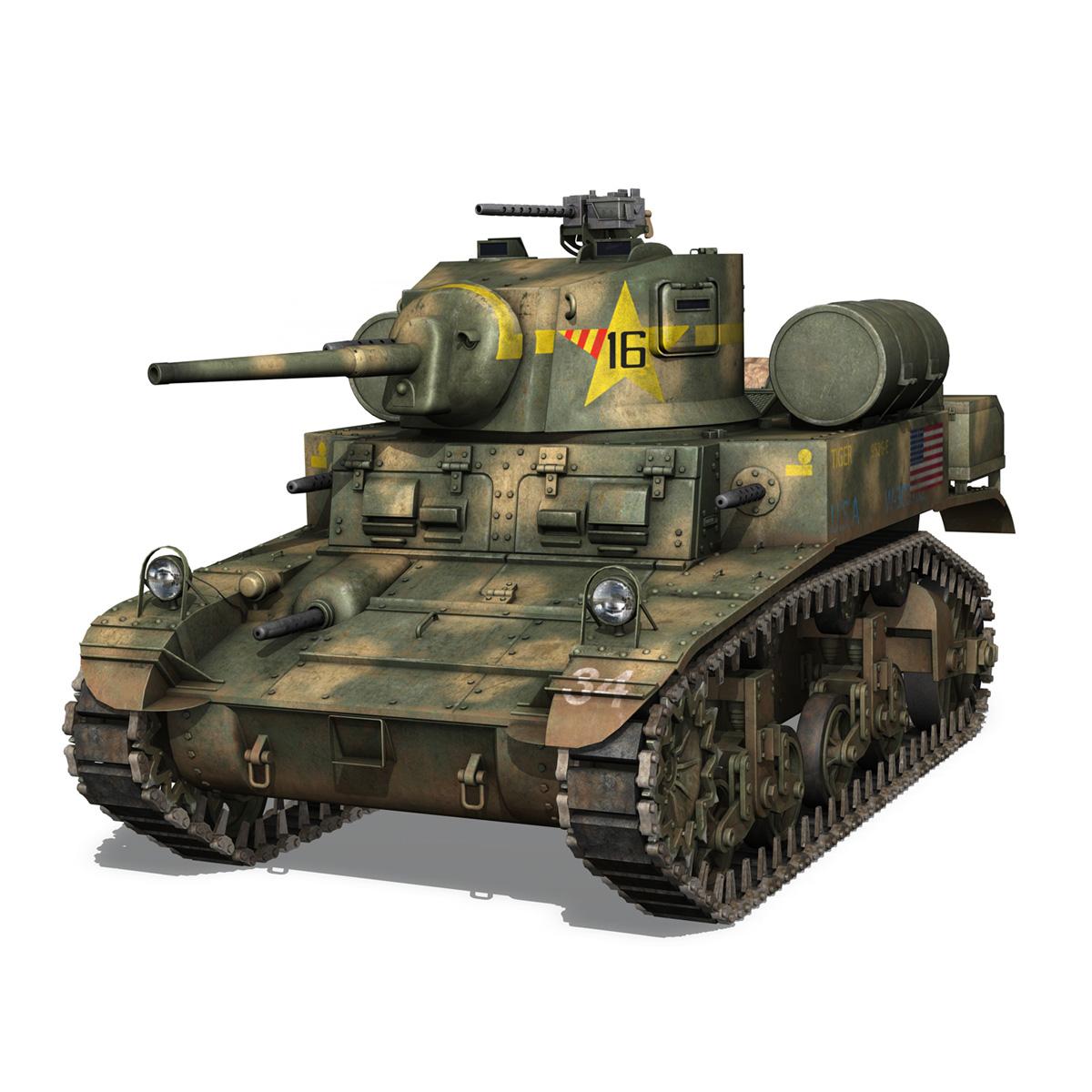m3a1 light tank stuart – tiger 3d model 3ds c4d fbx lwo lw lws obj 265634