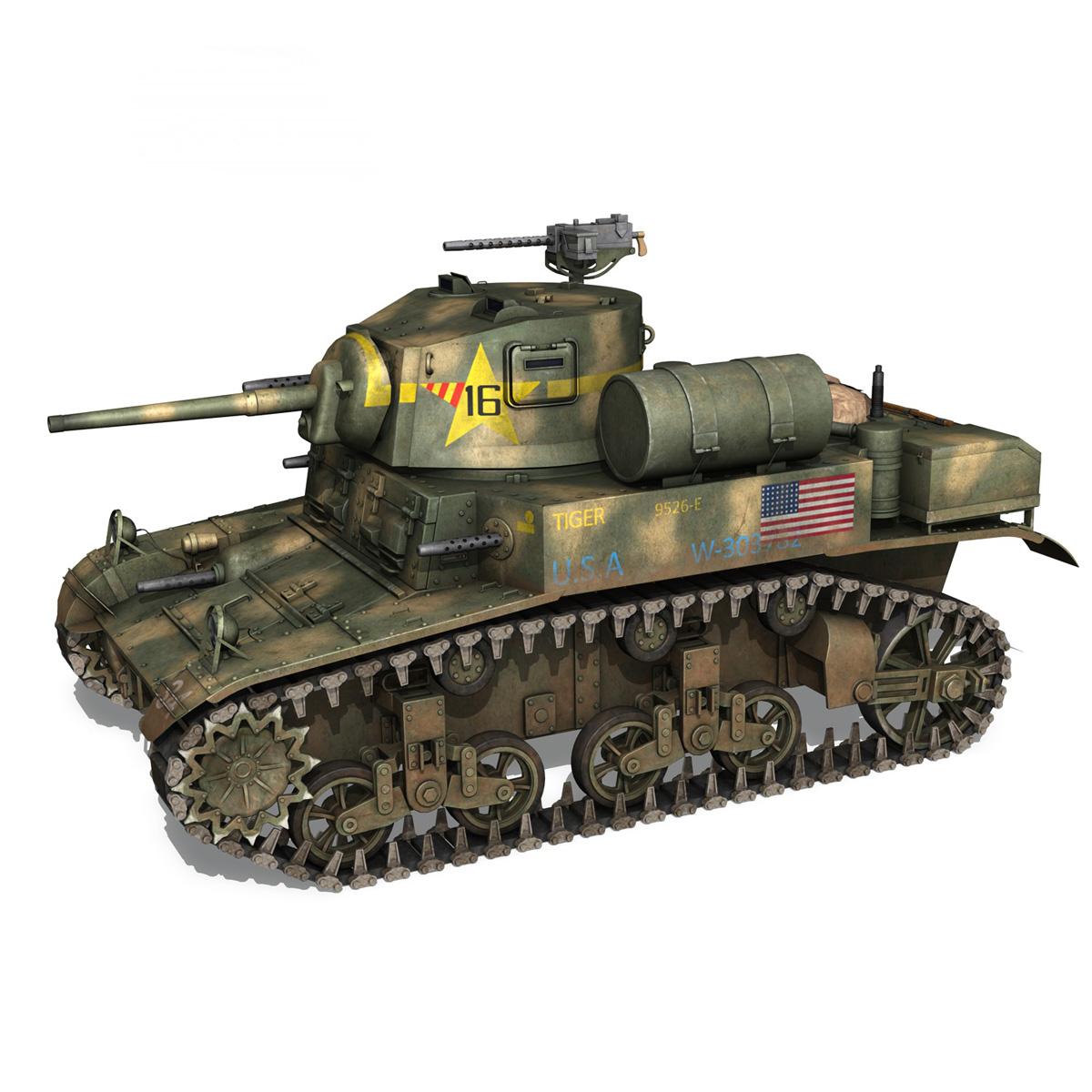 m3a1 light tank stuart – tiger 3d model 3ds c4d fbx lwo lw lws obj 265635
