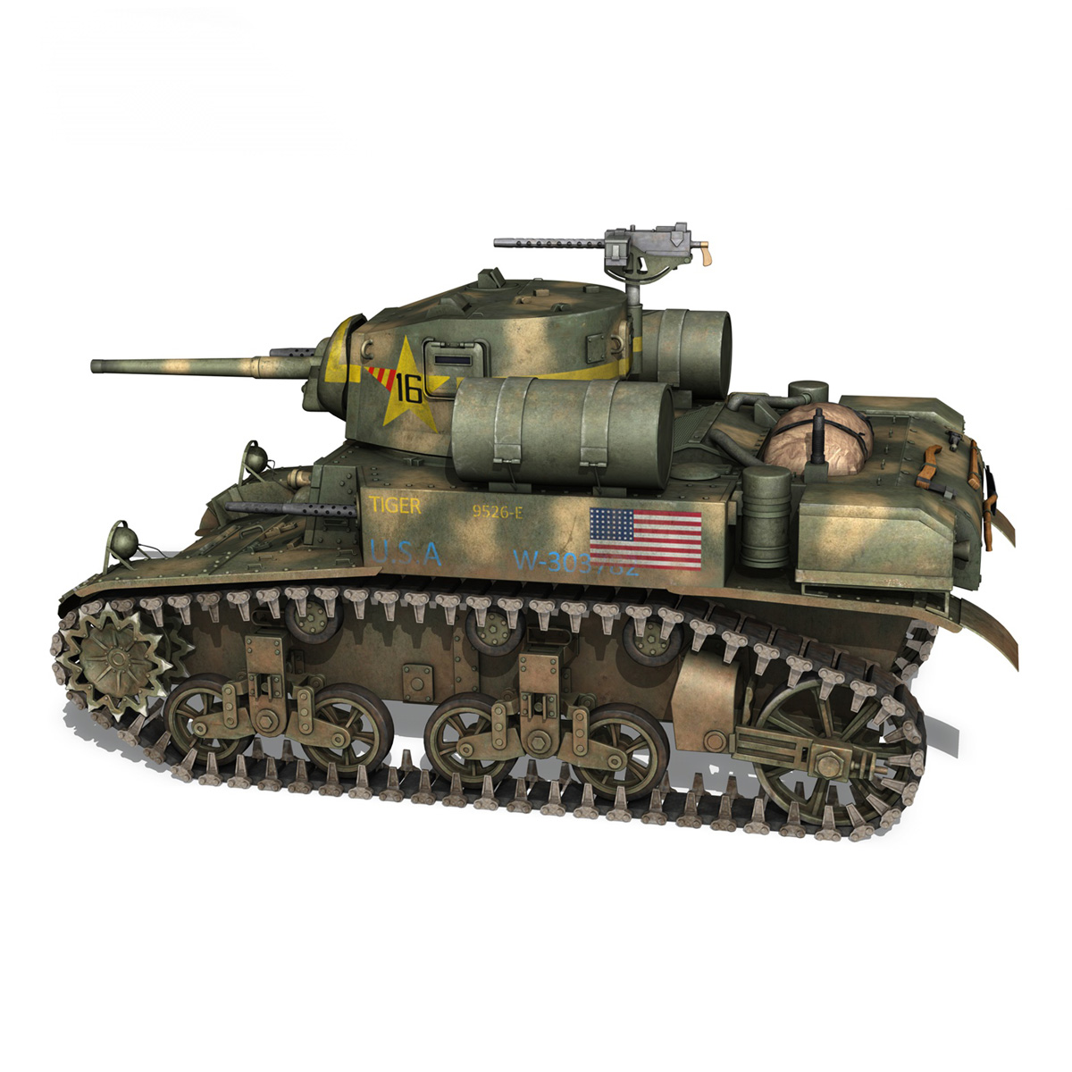 m3a1 light tank stuart – tiger 3d model 3ds c4d fbx lwo lw lws obj 265636