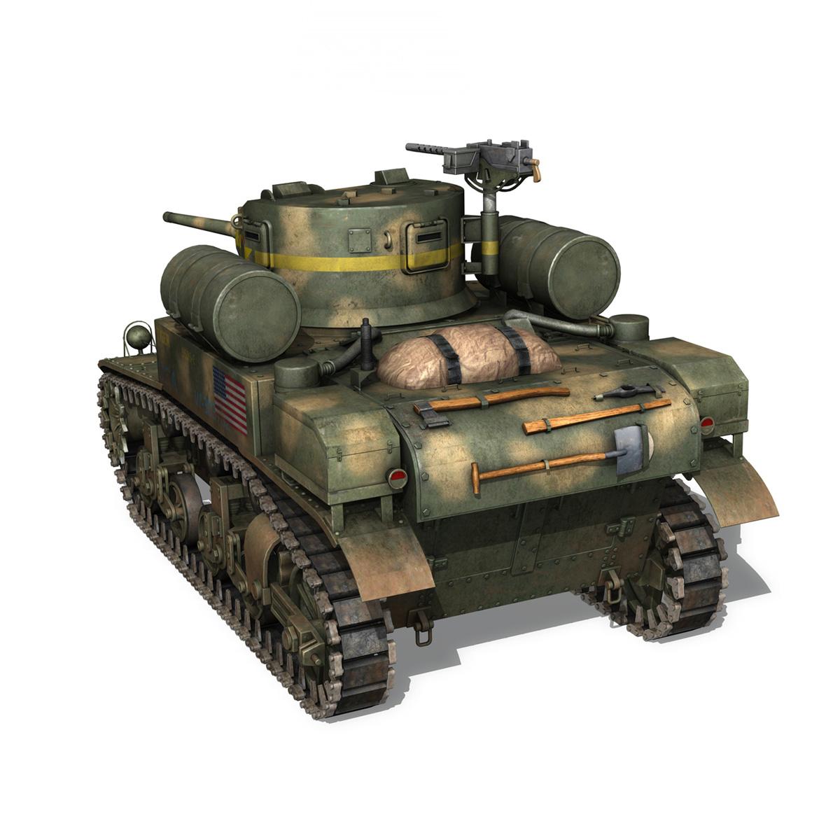 m3a1 light tank stuart – tiger 3d model 3ds c4d fbx lwo lw lws obj 265637