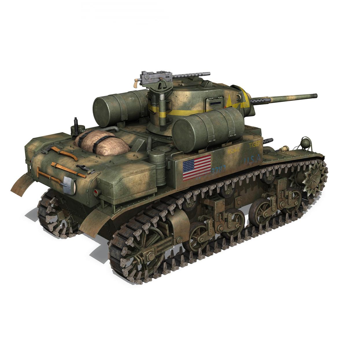 m3a1 light tank stuart – tiger 3d model 3ds c4d fbx lwo lw lws obj 265638