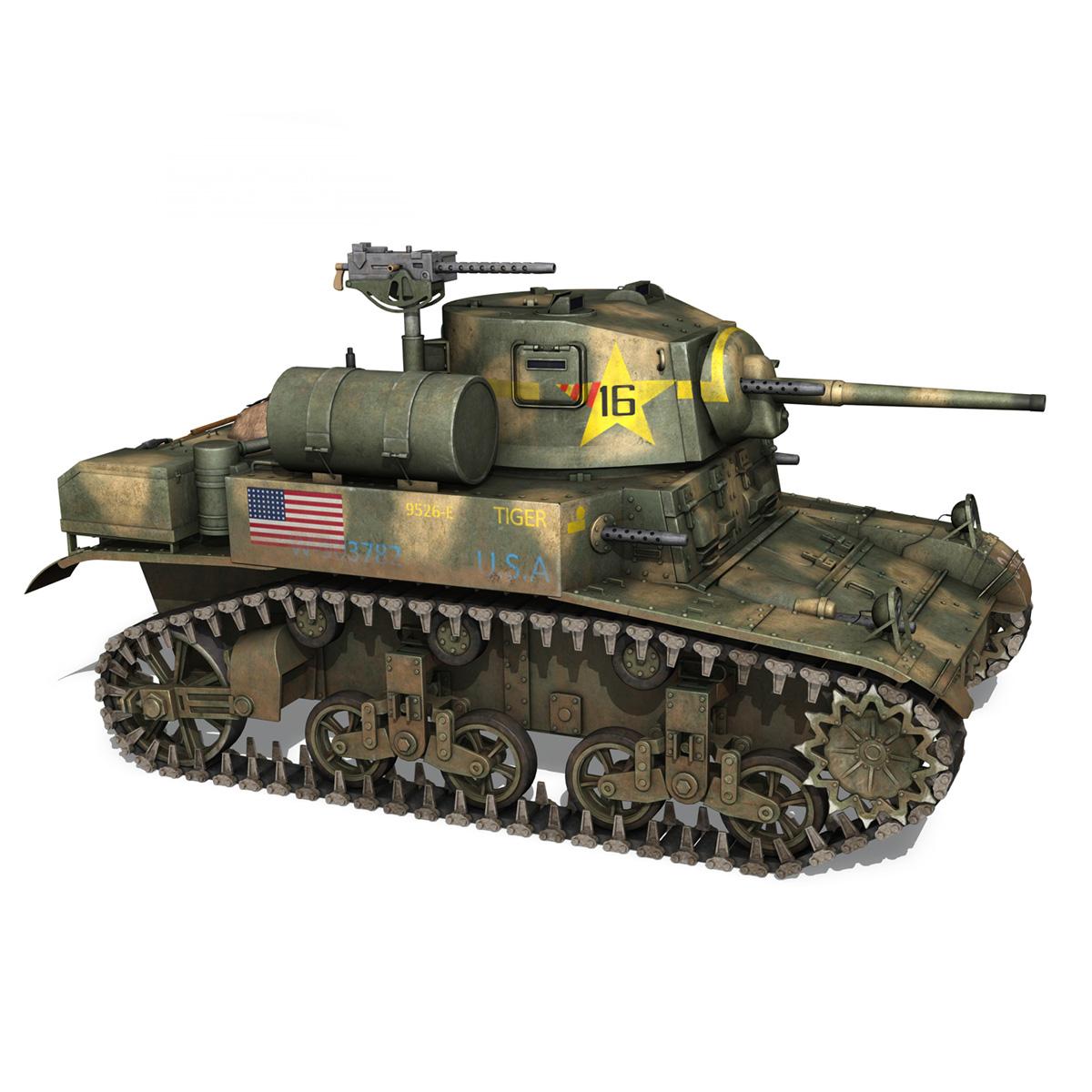 m3a1 light tank stuart – tiger 3d model 3ds c4d fbx lwo lw lws obj 265639