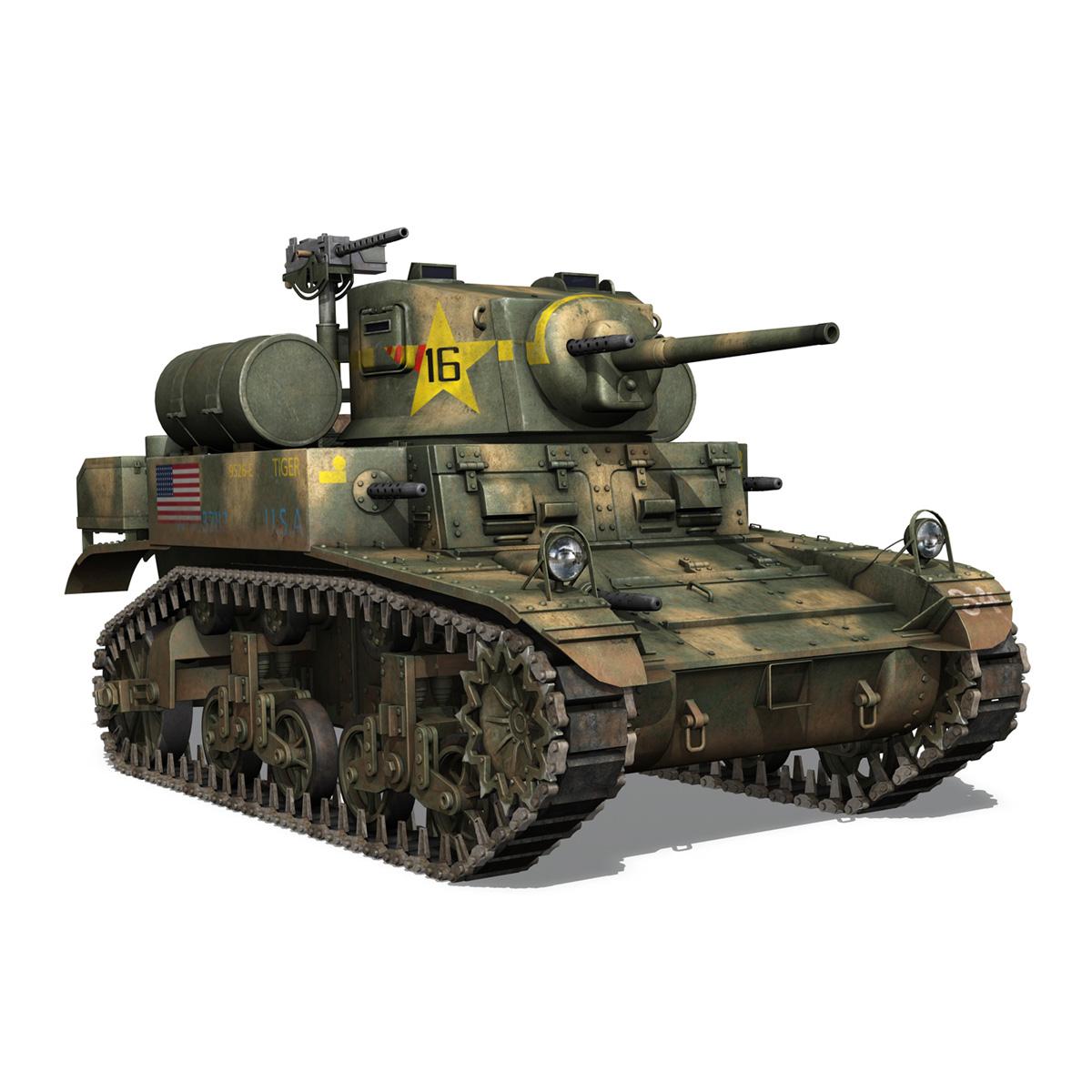 m3a1 light tank stuart – tiger 3d model 3ds c4d fbx lwo lw lws obj 265640