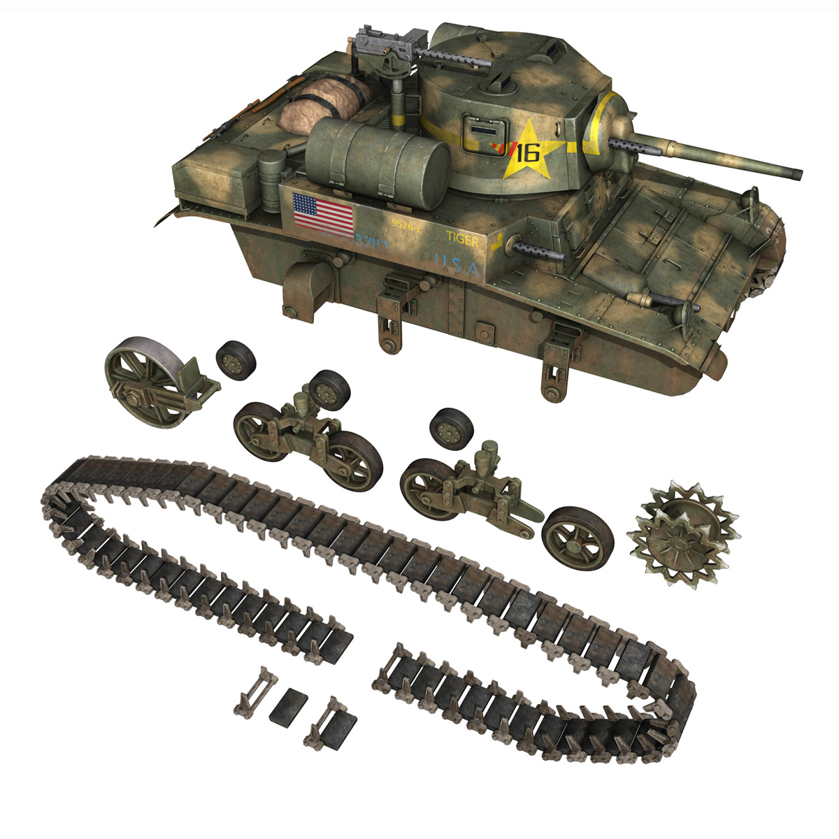 m3a1 light tank stuart – tiger 3d model 3ds c4d fbx lwo lw lws obj 265642