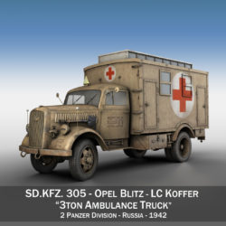 Opel Blitz - 3t Ambulance Truck - 2 PzDiv 3d model high poly virtual reality