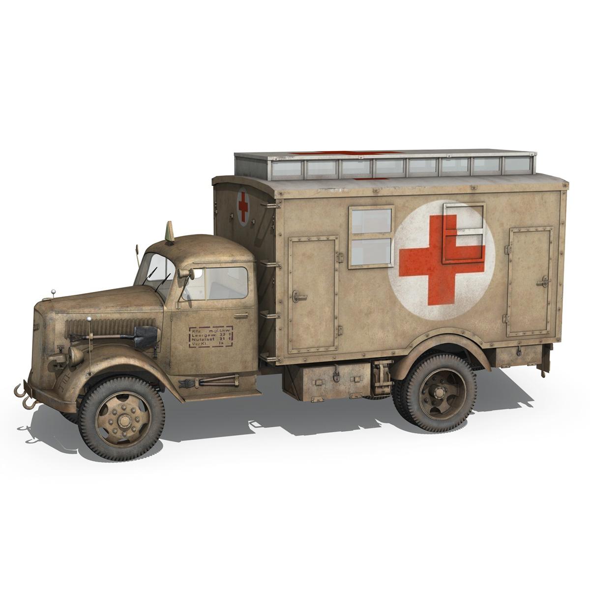 opel blitz – 3t ambulance truck – 2 pzdiv 3d model 3ds c4d fbx lwo lw lws obj 265755