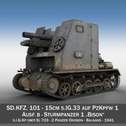 Sturmpanzer 1 - Bison - Alter Fritz - 2PzDiv 3d model 0