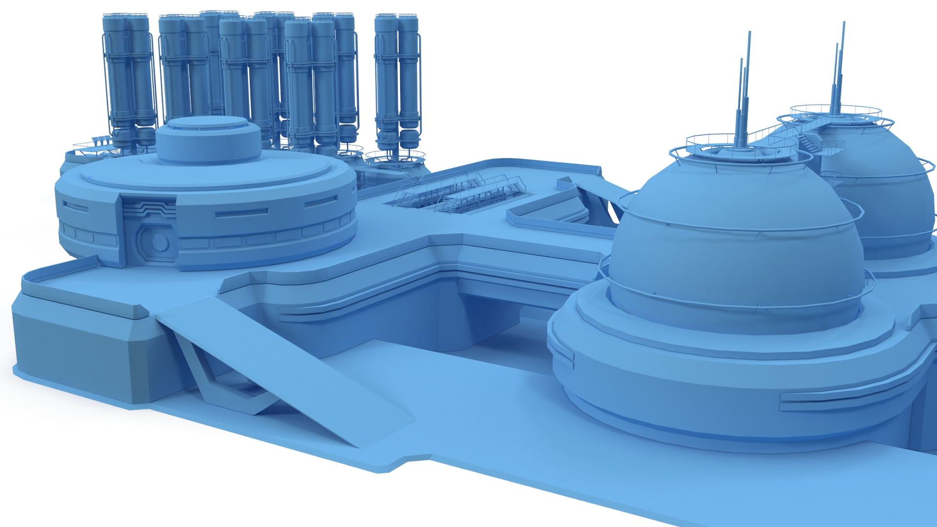 sci-fi gas storage base 3d model 3ds max fbx obj 265813