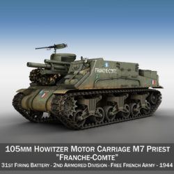 M7 Priest - Franche-Comte 3d model 0