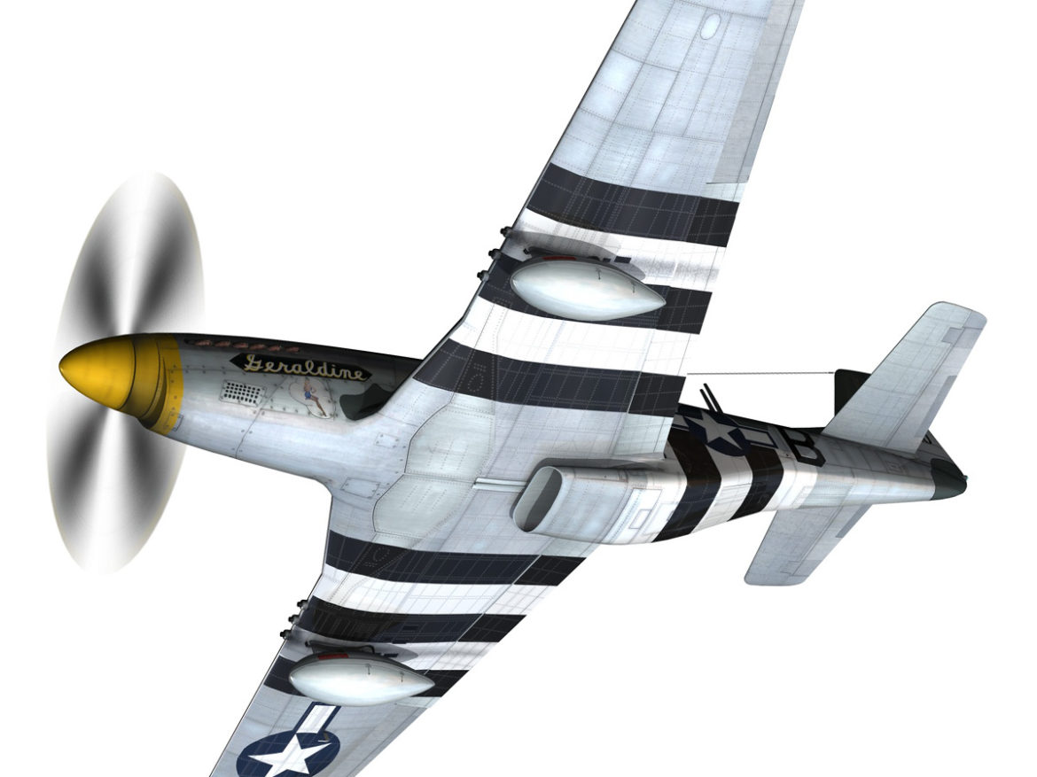 North American P-51D - Geraldine 3d model high poly virtual reality fbx c4d lwo lws lw obj