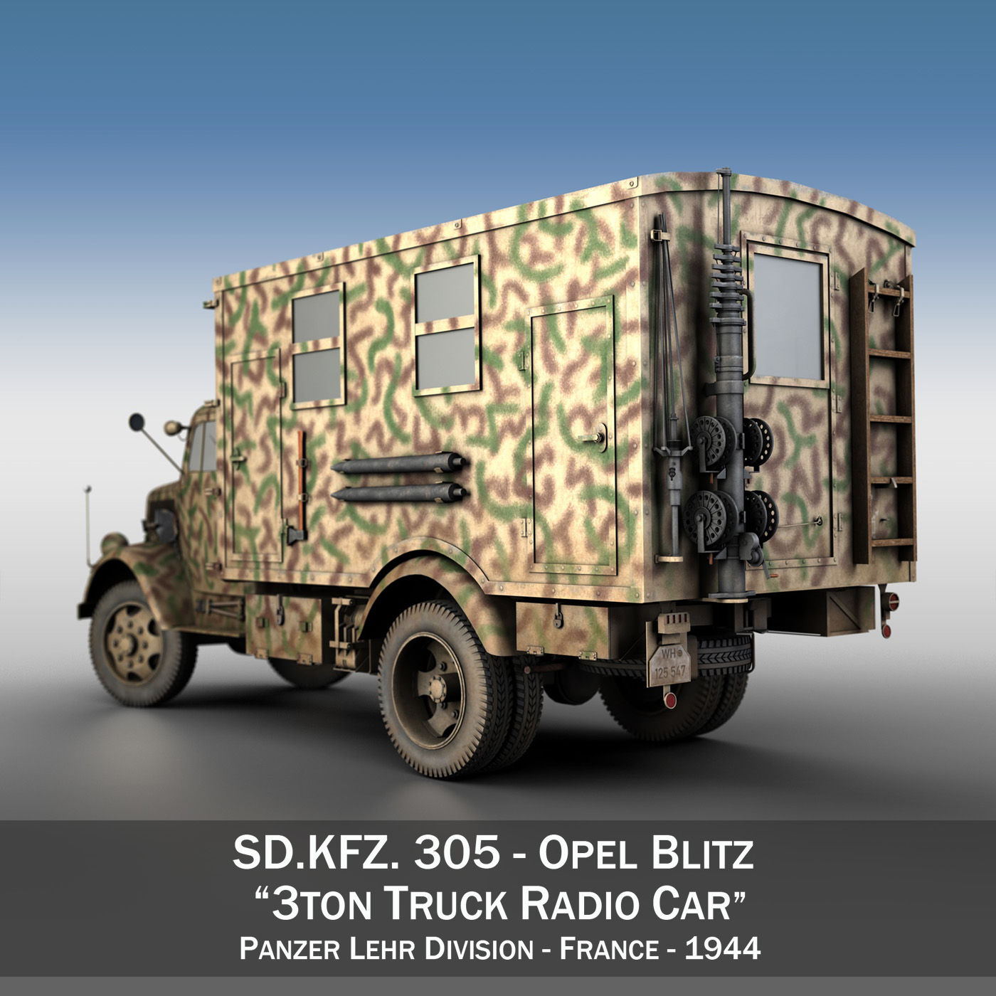 Opel Blitz - 3t Truck with Radiokoffer 3d model  265977