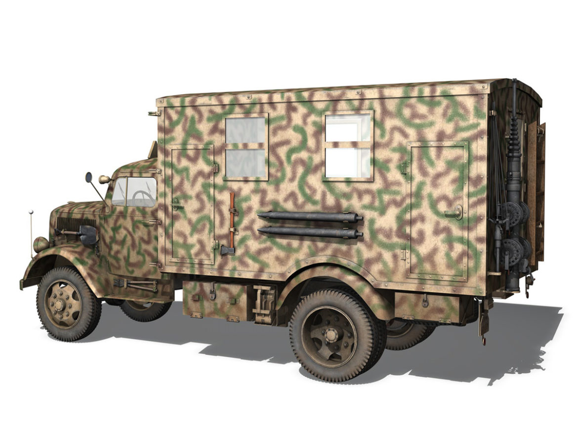 Opel Blitz - 3t Truck with Radiokoffer 3d model high poly virtual reality