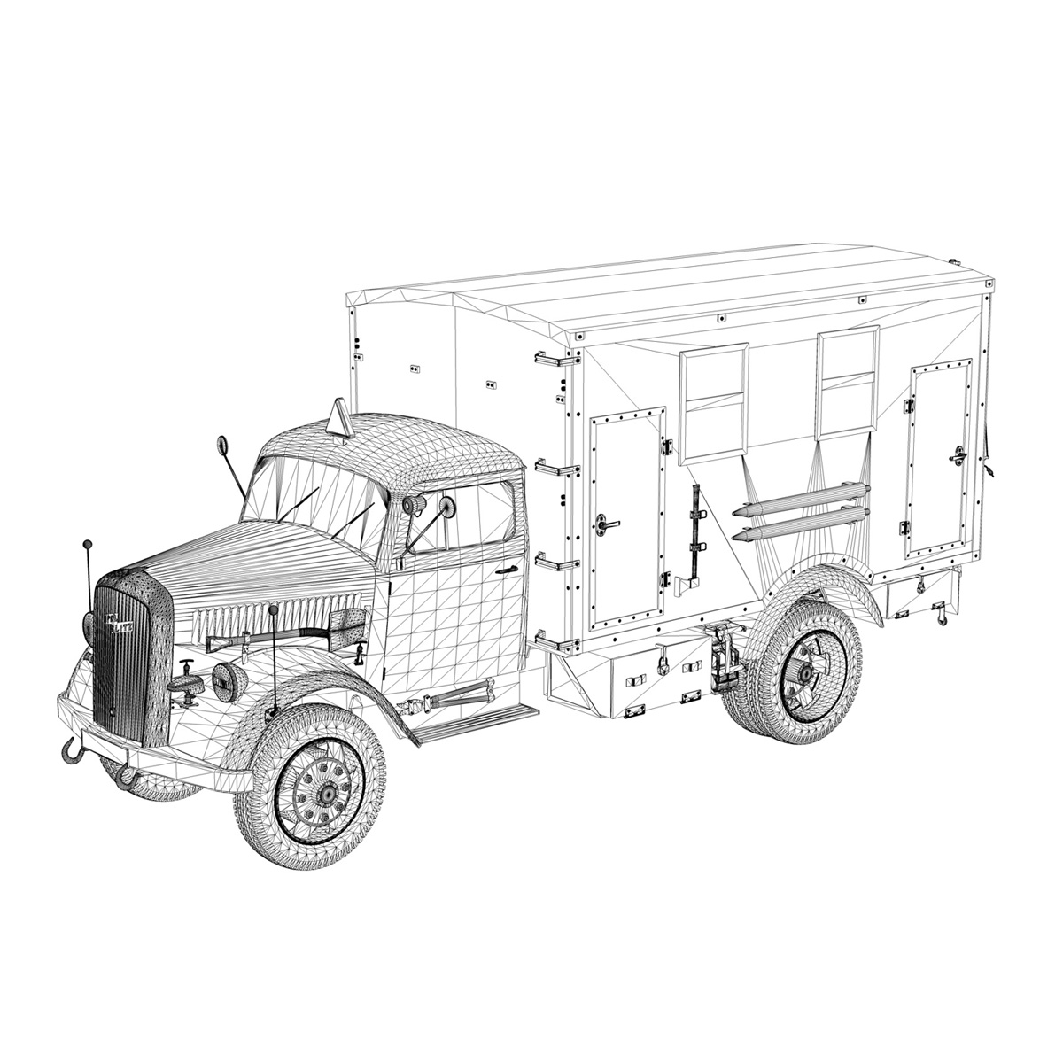 Opel Blitz - 3t Truck with Radiokoffer 3d model  265986