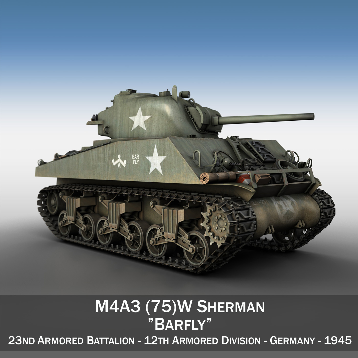 M4A3 75mm - Sherman - Barfly 3d model  265993