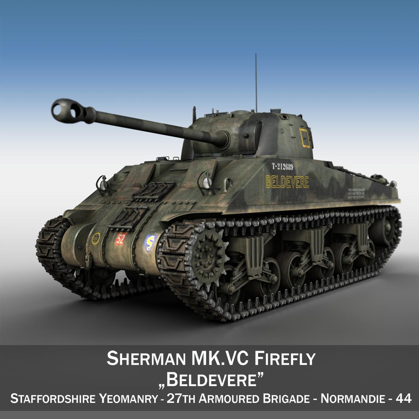sherman mk vc firefly - 3d modelis 3ds fxx objekts 4d lwo lws 266012