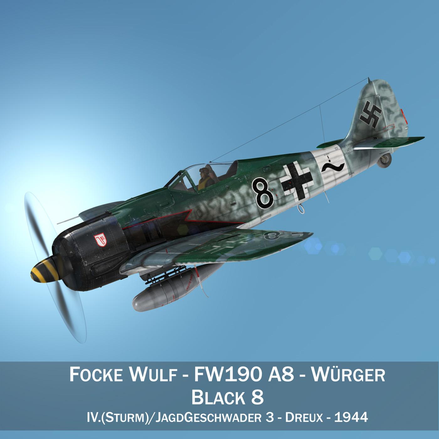 focke wulf – fw190 a8 – black 8 3d model 3ds c4d fbx lwo lw lws obj 266051