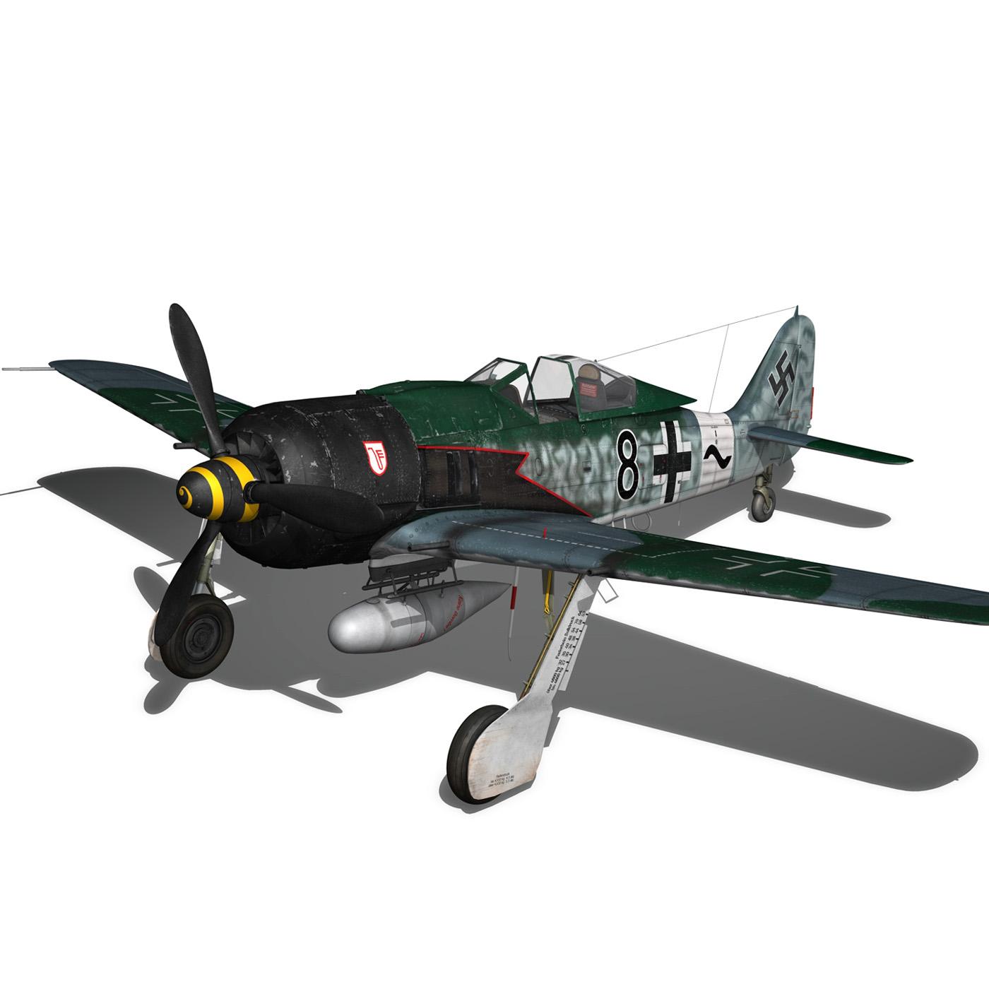 focke wulf – fw190 a8 – black 8 3d model 3ds c4d fbx lwo lw lws obj 266059