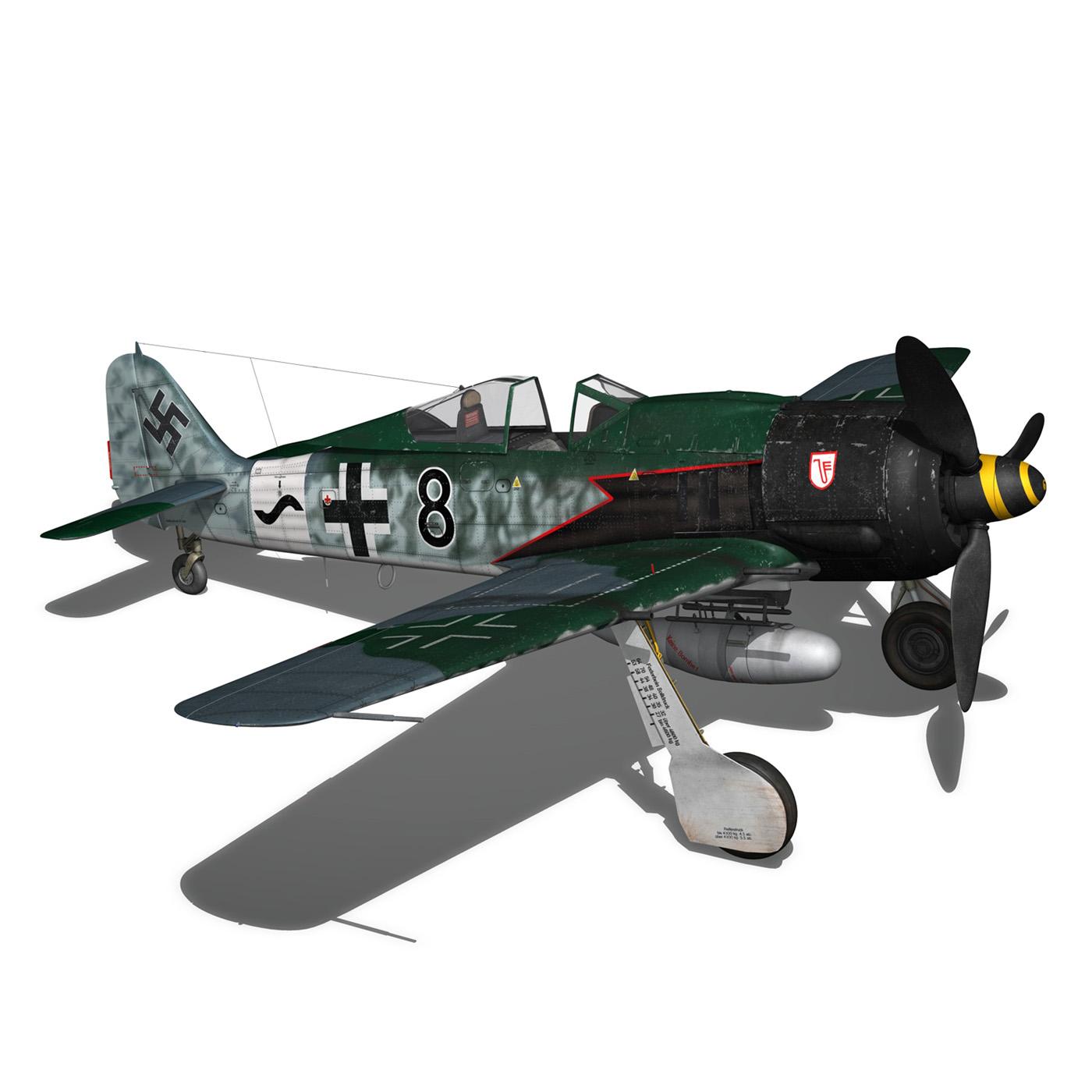 focke wulf – fw190 a8 – black 8 3d model 3ds c4d fbx lwo lw lws obj 266065