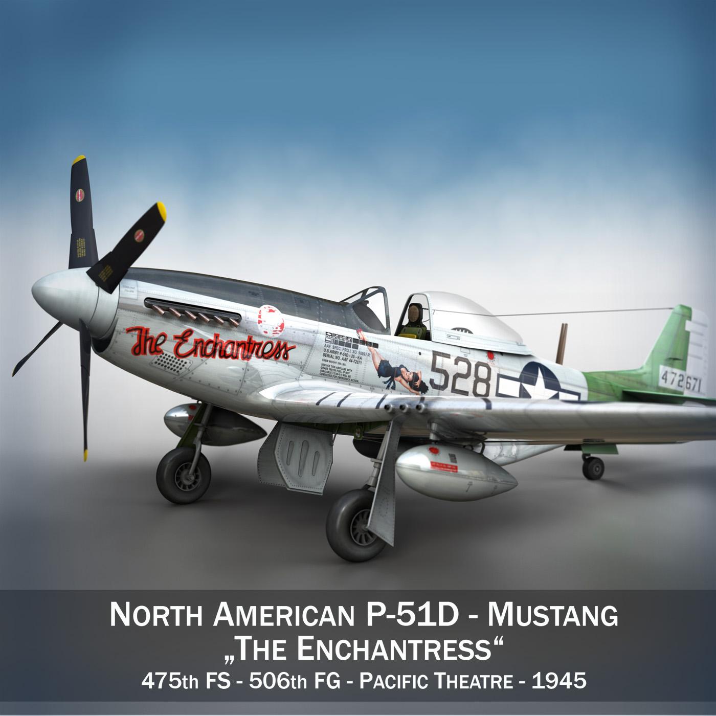 north american p-51d mustang – the enchantress 3d model lwo lw lws obj c4d fbx 266093