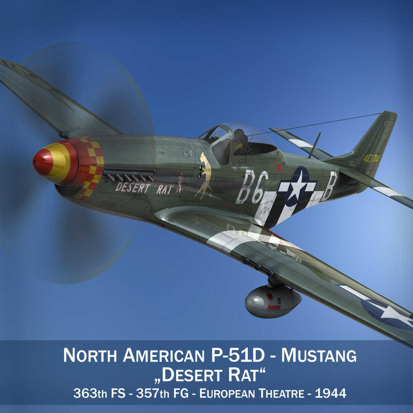 Ziemeļamerikas p-51d mustang - tuksneša žurka 3d fbx lwo lws obj c4d 266118