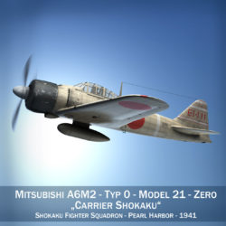 Mitsubishi A6M2 Zero - Carrier Shokaku 3d model high poly virtual reality