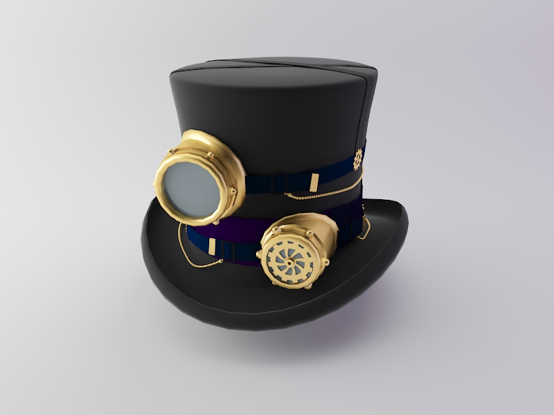 steampunk hat 3d model obj max fbx 266197
