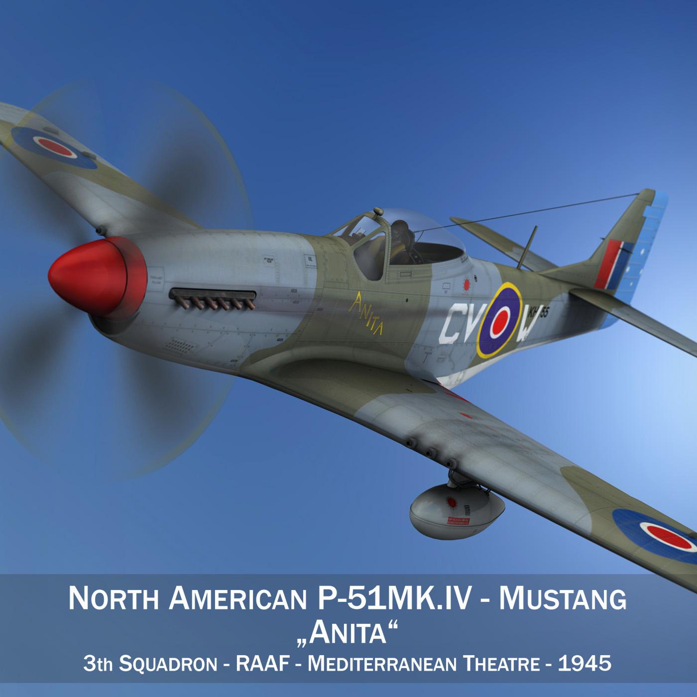 north american p-51k mustang mk.iv – anita – raaf 3d model fbx lwo lw lws obj c4d 266214