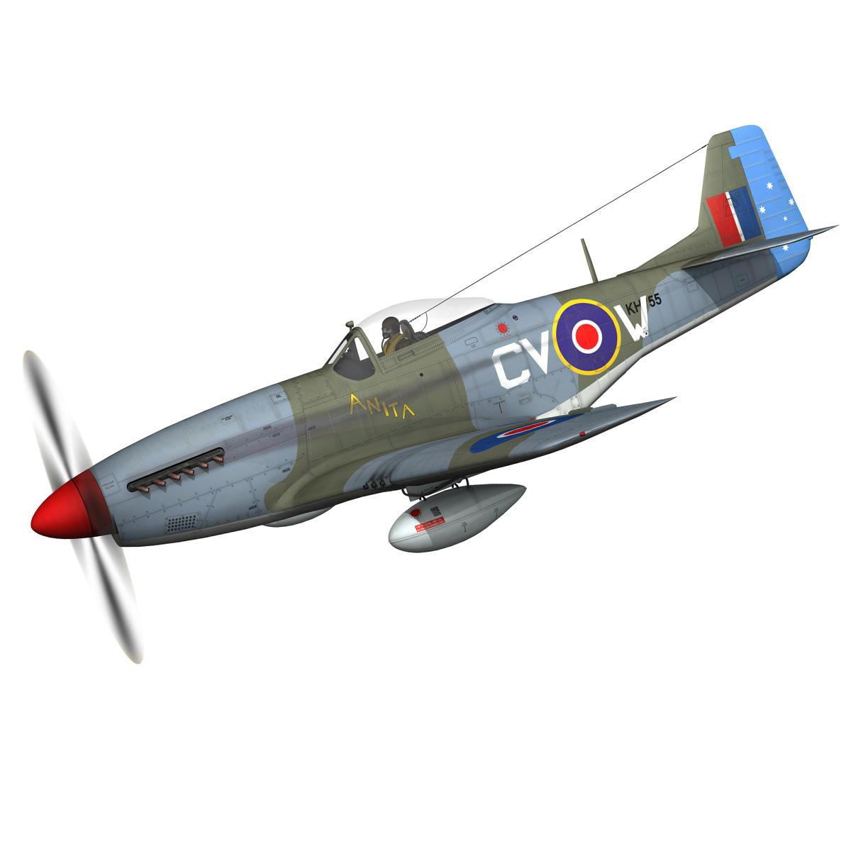 north american p-51k mustang mk.iv – anita – raaf 3d model fbx lwo lw lws obj c4d 266215