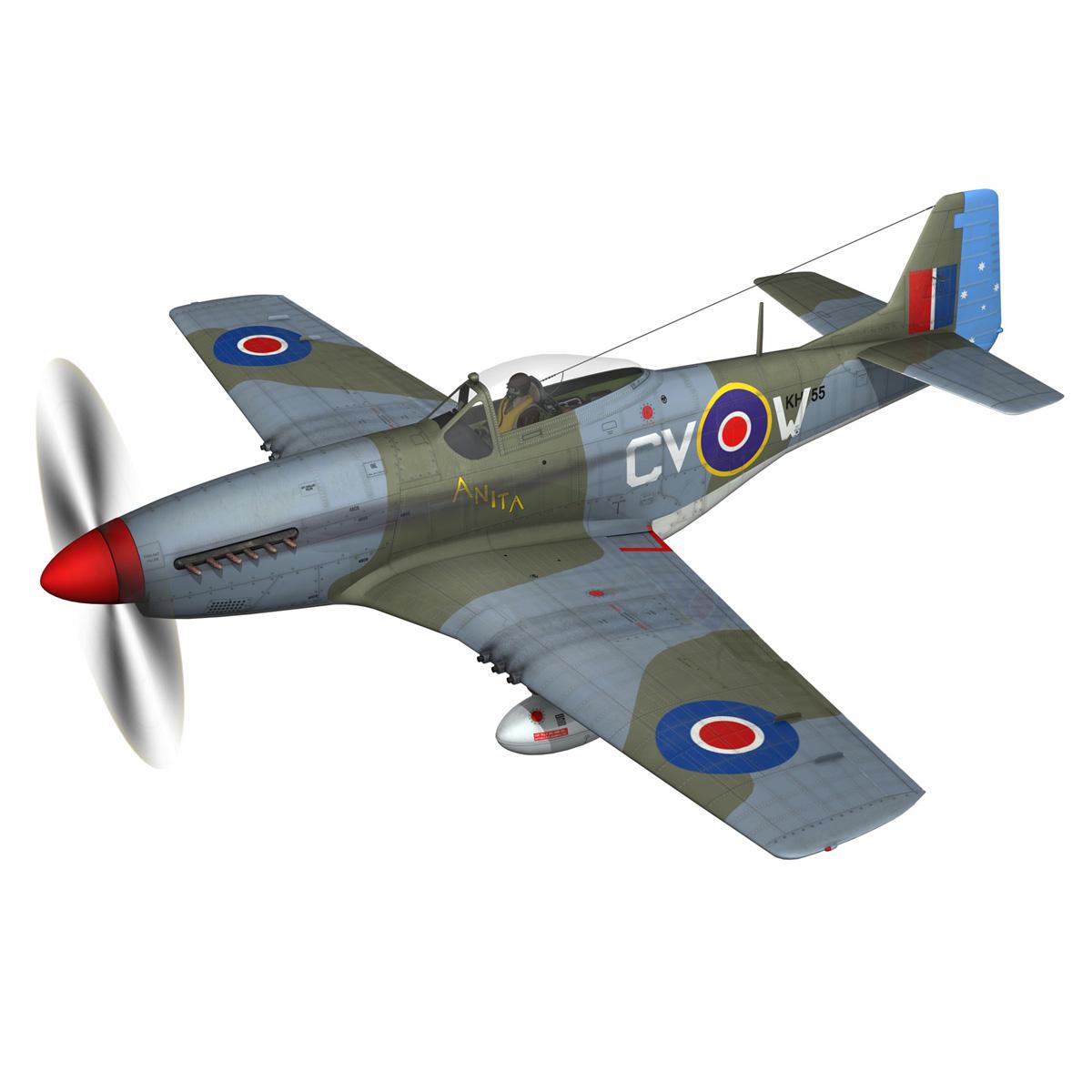 north american p-51k mustang mk.iv – anita – raaf 3d model fbx lwo lw lws obj c4d 266216