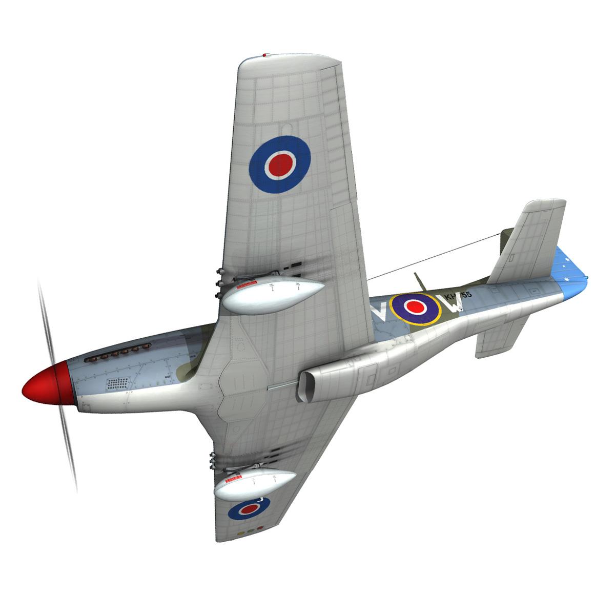 north american p-51k mustang mk.iv – anita – raaf 3d model fbx lwo lw lws obj c4d 266217