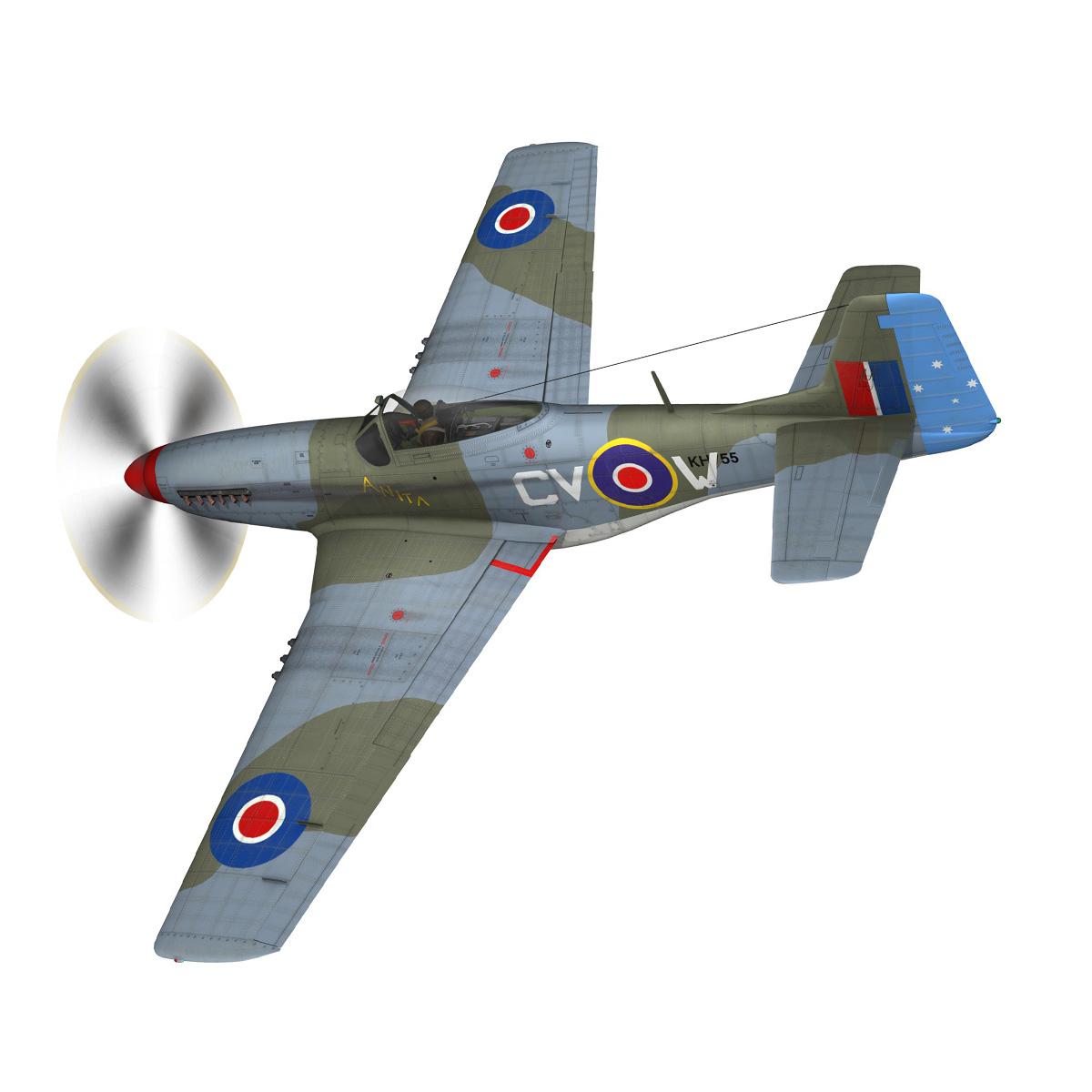 north american p-51k mustang mk.iv – anita – raaf 3d model fbx lwo lw lws obj c4d 266218