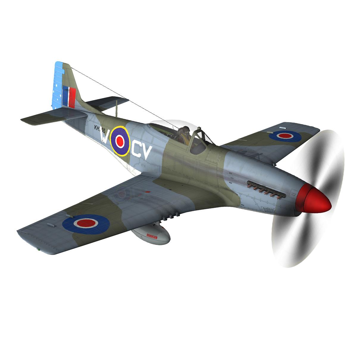 north american p-51k mustang mk.iv – anita – raaf 3d model fbx lwo lw lws obj c4d 266220