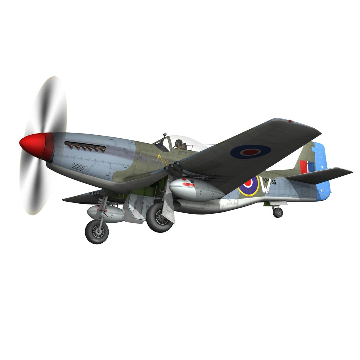 north american p-51k mustang mk.iv – anita – raaf 3d model fbx lwo lw lws obj c4d 266222
