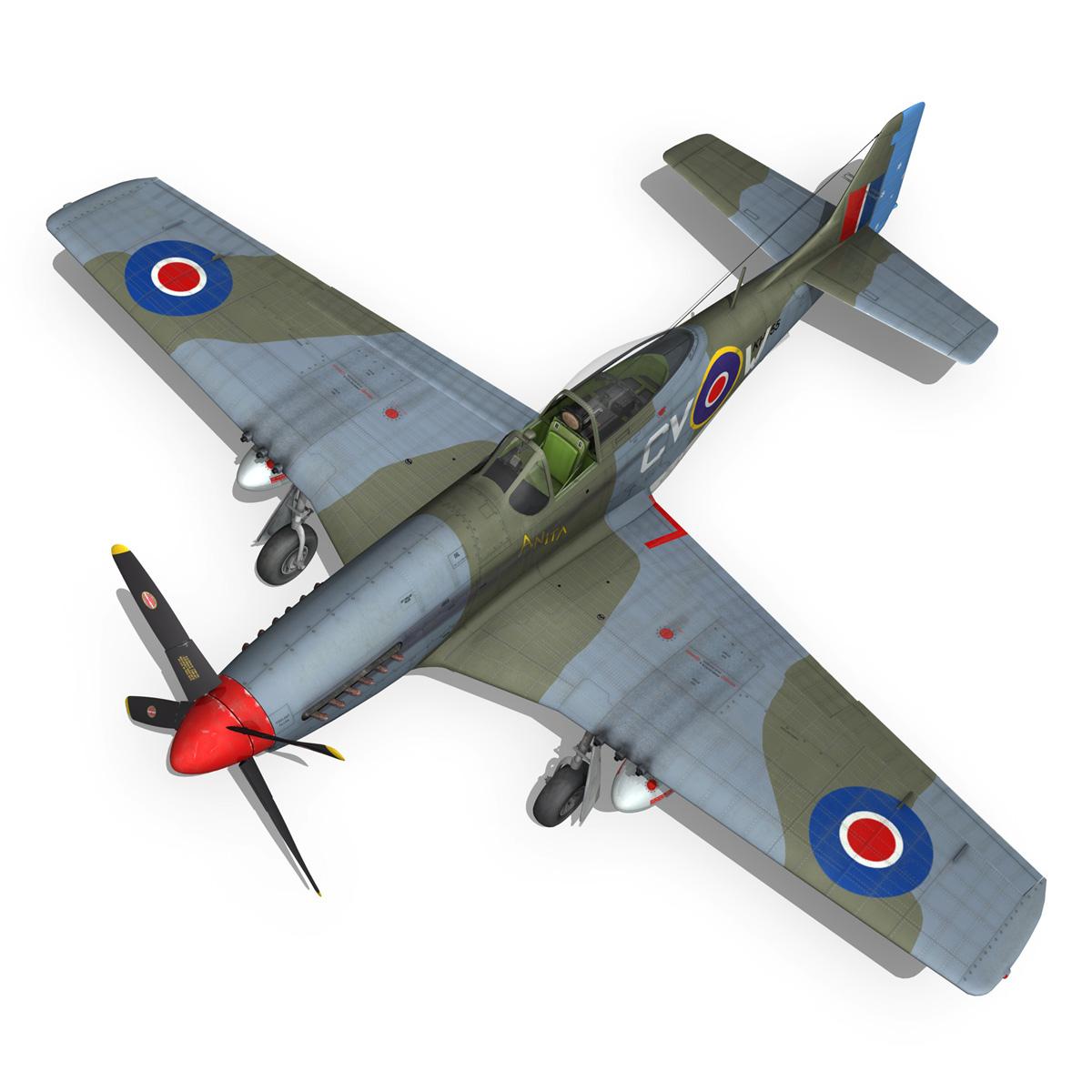 north american p-51k mustang mk.iv – anita – raaf 3d model fbx lwo lw lws obj c4d 266223