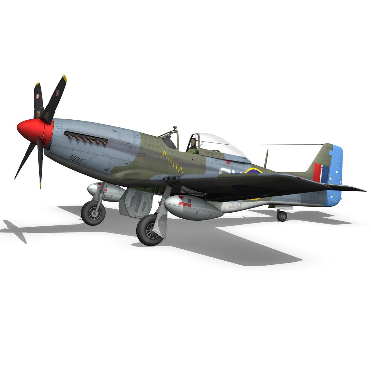 north american p-51k mustang mk.iv – anita – raaf 3d model fbx lwo lw lws obj c4d 266224