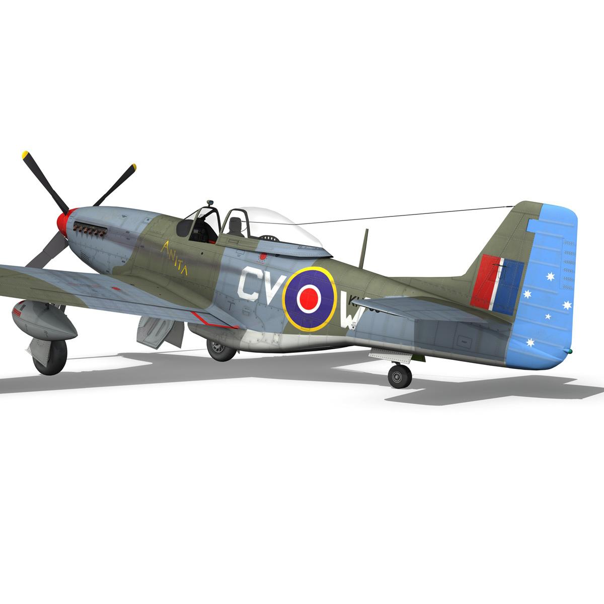 north american p-51k mustang mk.iv – anita – raaf 3d model fbx lwo lw lws obj c4d 266225