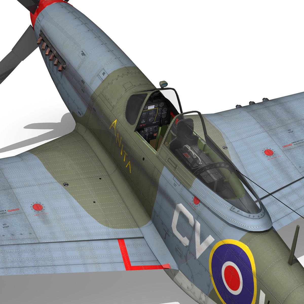 north american p-51k mustang mk.iv – anita – raaf 3d model fbx lwo lw lws obj c4d 266228