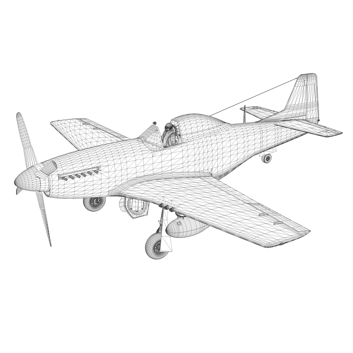 north american p-51d mustang – shu shu 3d model fbx lwo lw lws obj c4d 266254