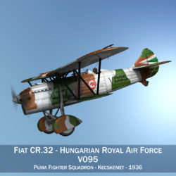 Fiat CR.32 - Hungarian Royal Air Force - V095 3d model high poly virtual reality