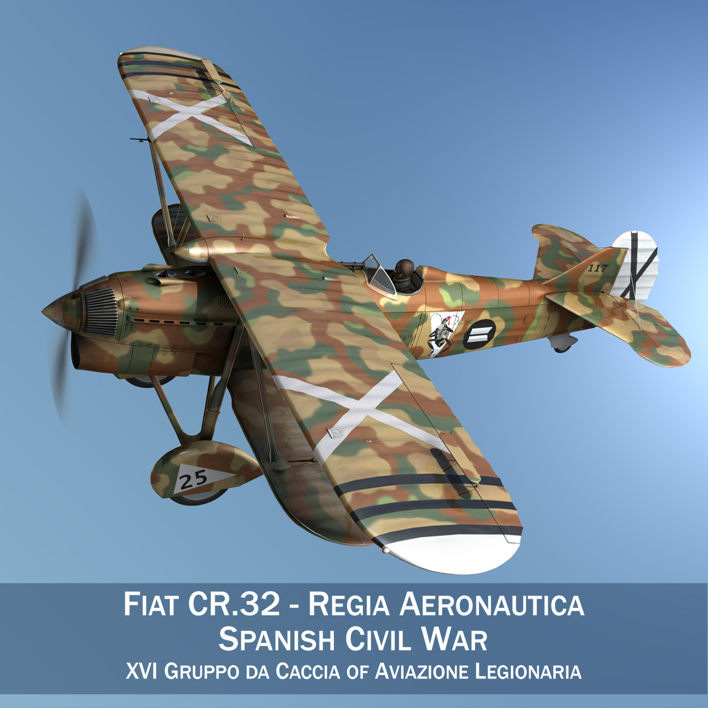 fiat cr.32 - włochy air force - xvi gruppo 3d model fbx lw lws obj c4d 266300
