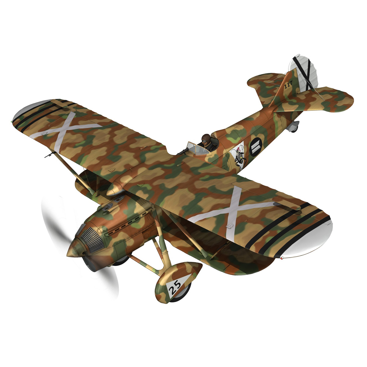 fiat cr.32 – italy air force – xvi gruppo 3d model fbx lwo lw lws obj c4d 266301
