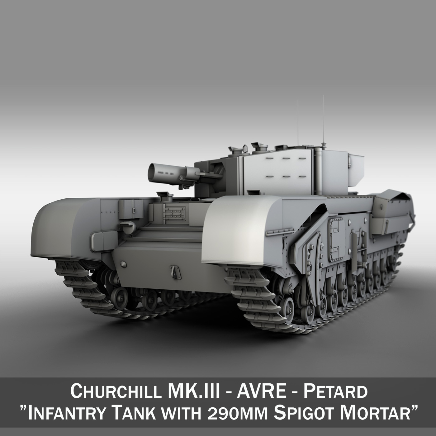 churchill mk.iii avre - petard 3d model 3ds fbx lwo lw lws obj c4d 266334