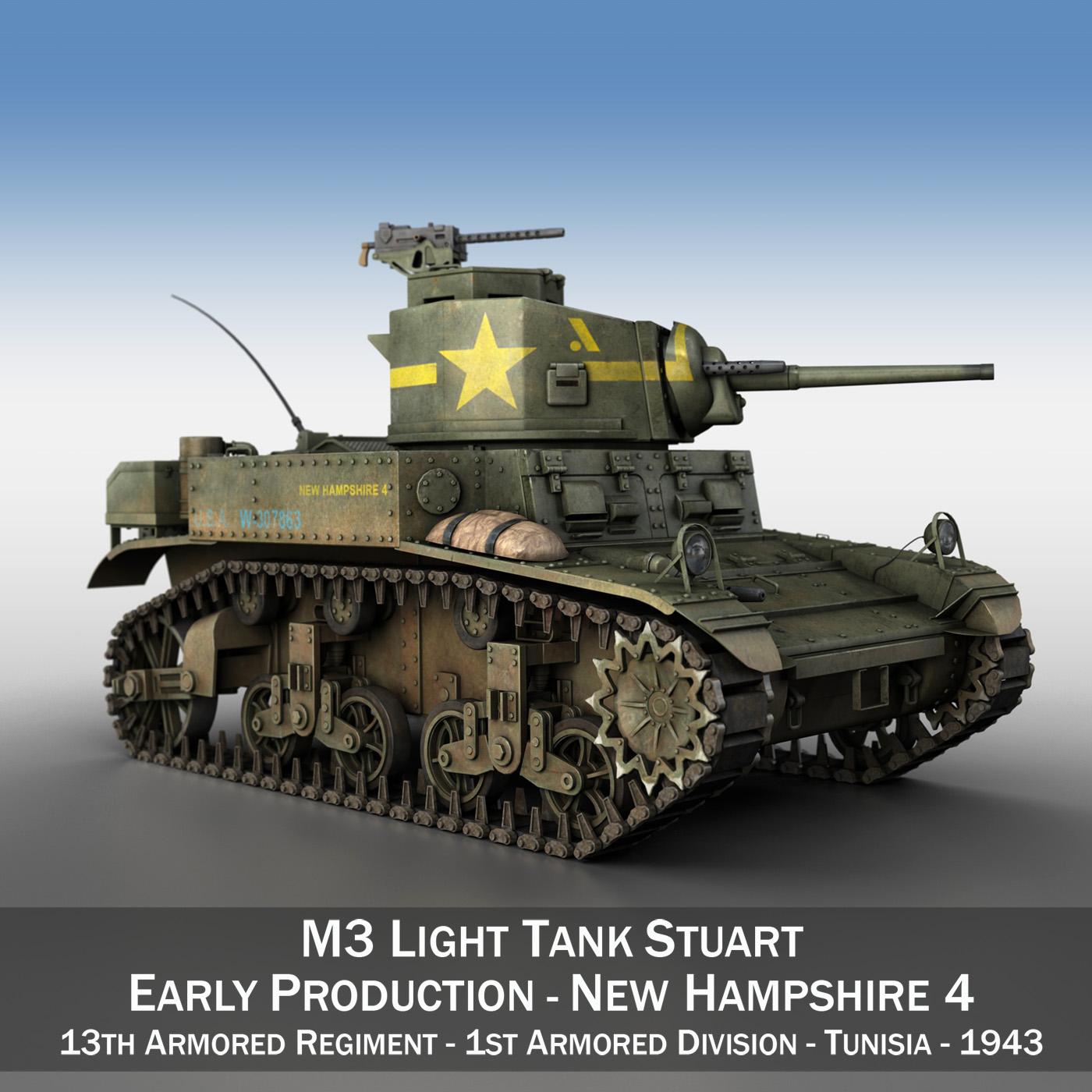 m3 light tank stuart – new hampshire 4 3d model 3ds c4d fbx lwo lw lws obj 266373