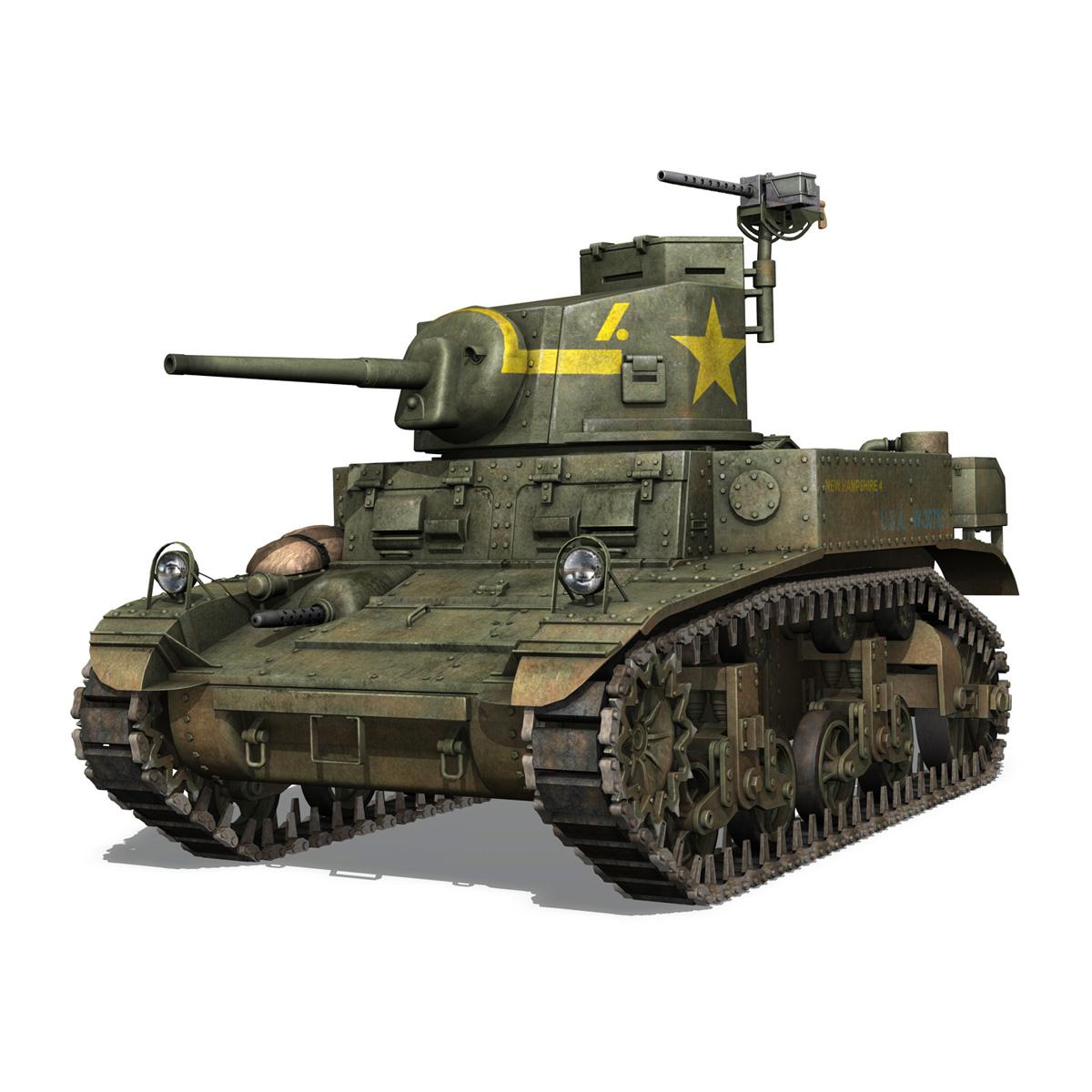 m3 light tank stuart – new hampshire 4 3d model 3ds c4d fbx lwo lw lws obj 266374