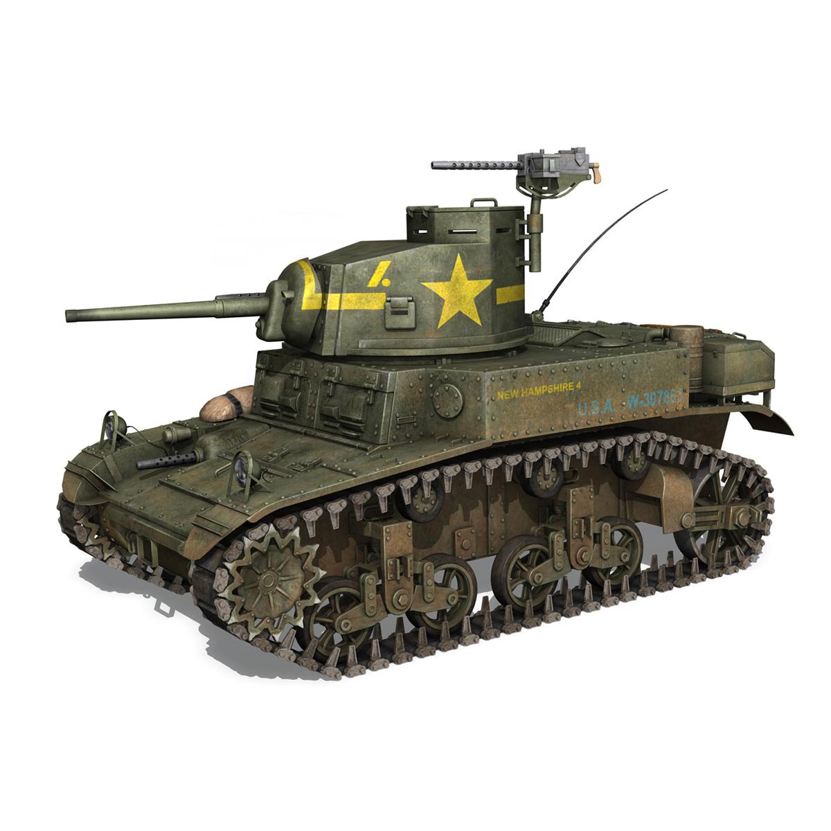 m3 light tank stuart – new hampshire 4 3d model 3ds c4d fbx lwo lw lws obj 266375
