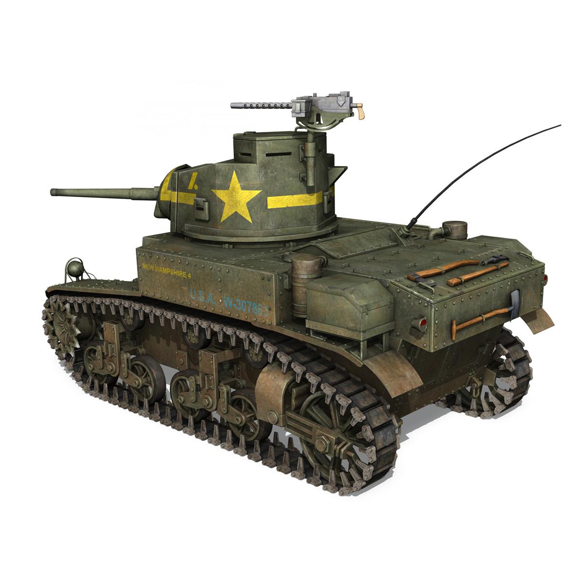 m3 light tank stuart – new hampshire 4 3d model 3ds c4d fbx lwo lw lws obj 266376