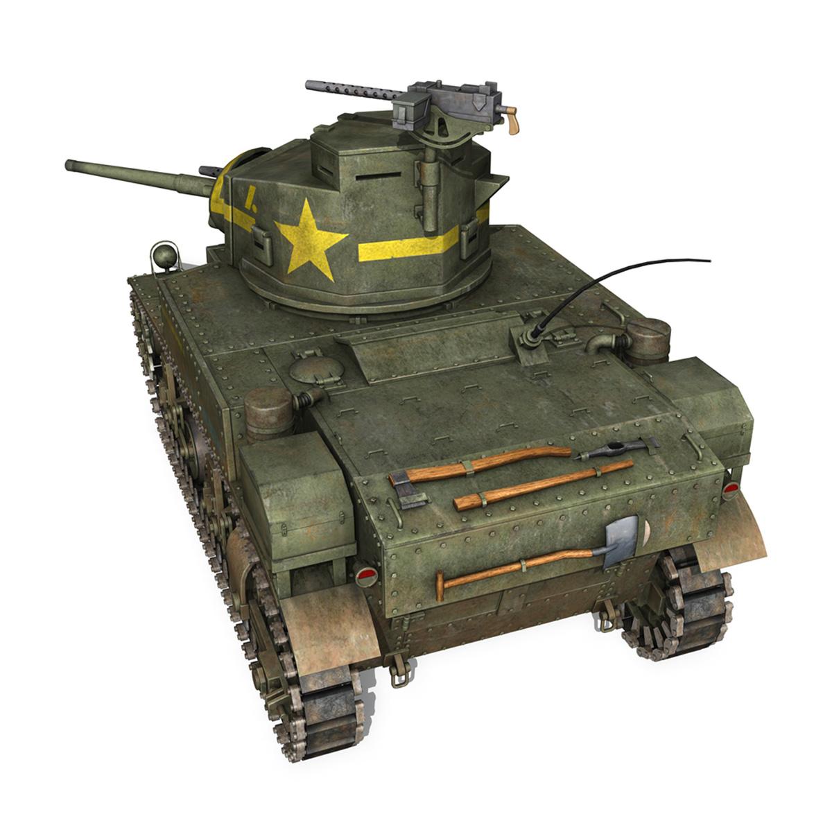 m3 light tank stuart – new hampshire 4 3d model 3ds c4d fbx lwo lw lws obj 266377