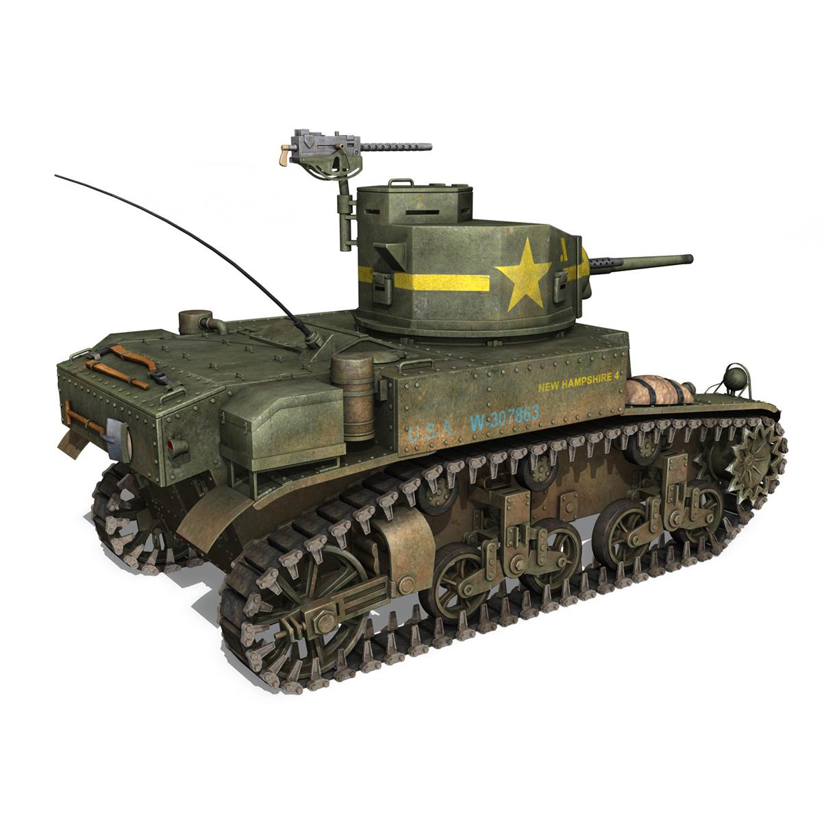 m3 light tank stuart – new hampshire 4 3d model 3ds c4d fbx lwo lw lws obj 266378
