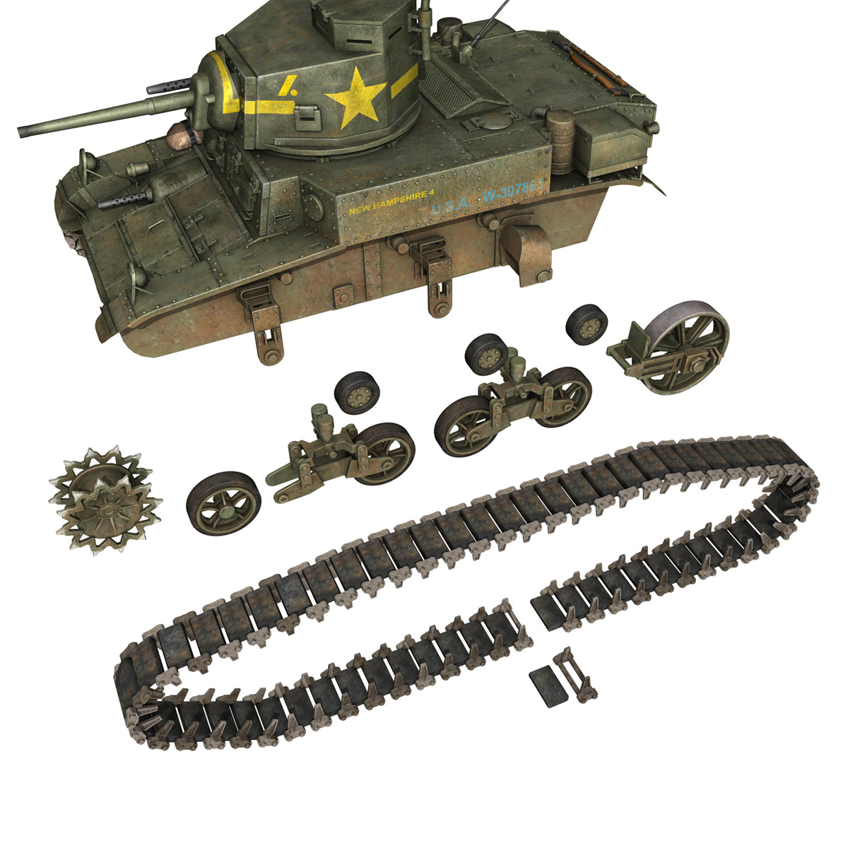 m3 light tank stuart – new hampshire 4 3d model 3ds c4d fbx lwo lw lws obj 266381