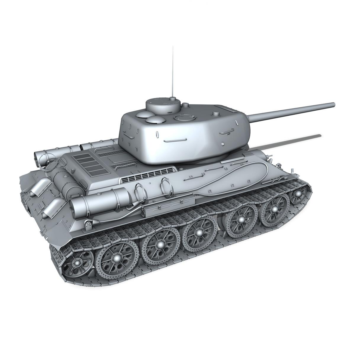 t-34 85 – soviet medium tank 3d model 3ds fbx lwo lw lws obj c4d 266413